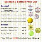 Baseball and Softball Price List